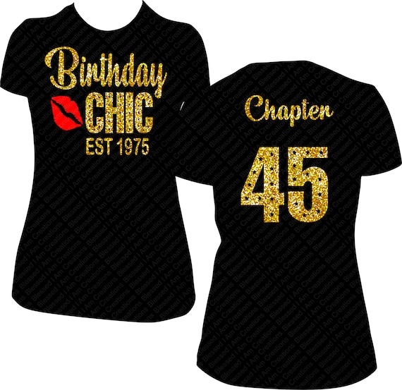 Birthday Chic Est Date Birthday Shirt Women Bling Shirt Gold Etsy