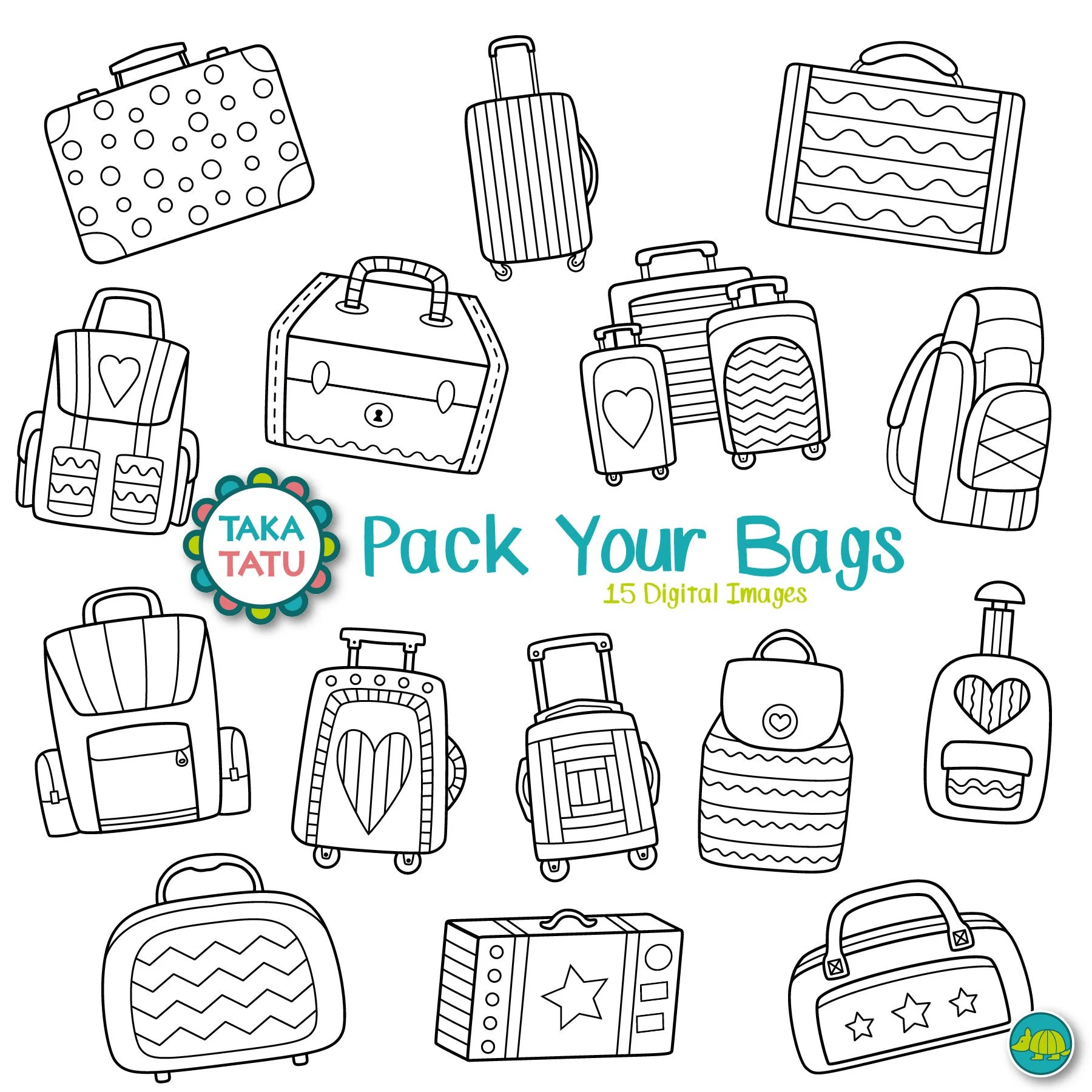 Suitcases Digital Stamp Pack Vacation Clip Art Travel