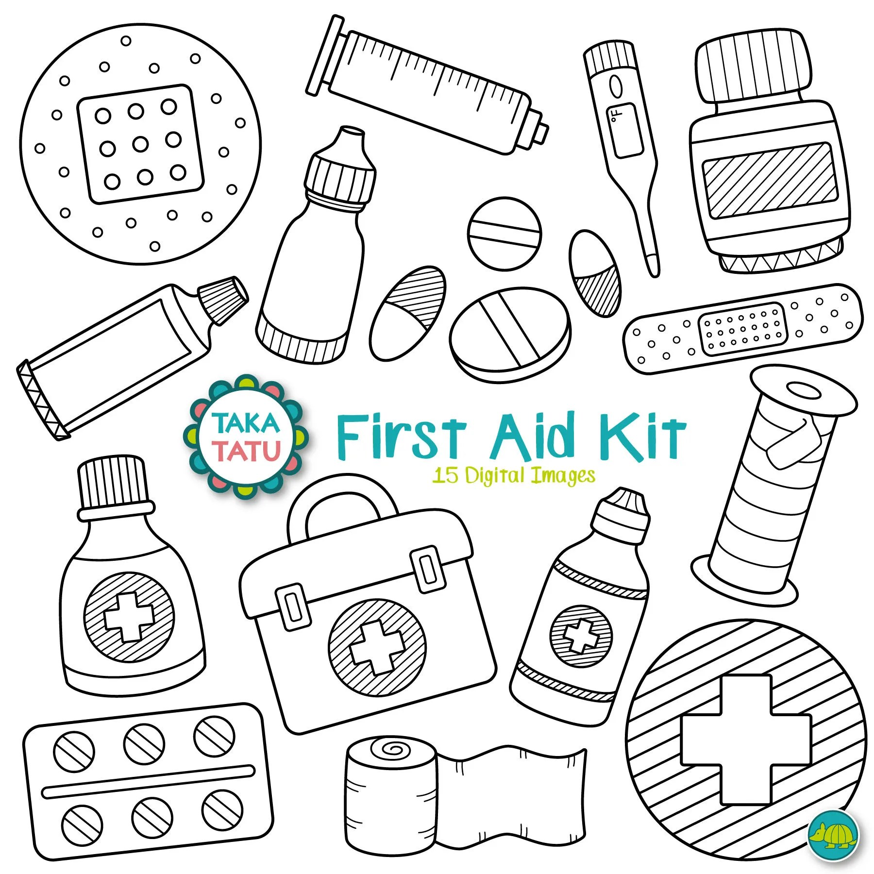 First Aid Kit Digital Stamp First Aid Clipart Medical