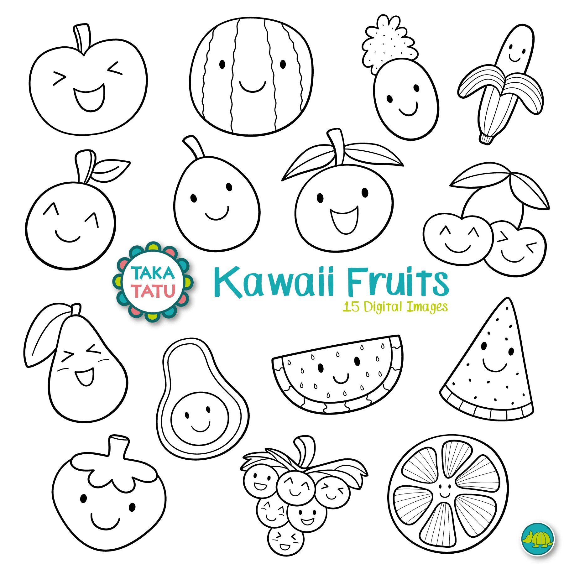Kawaii Fruits Digital Stamp Black And White Clipart