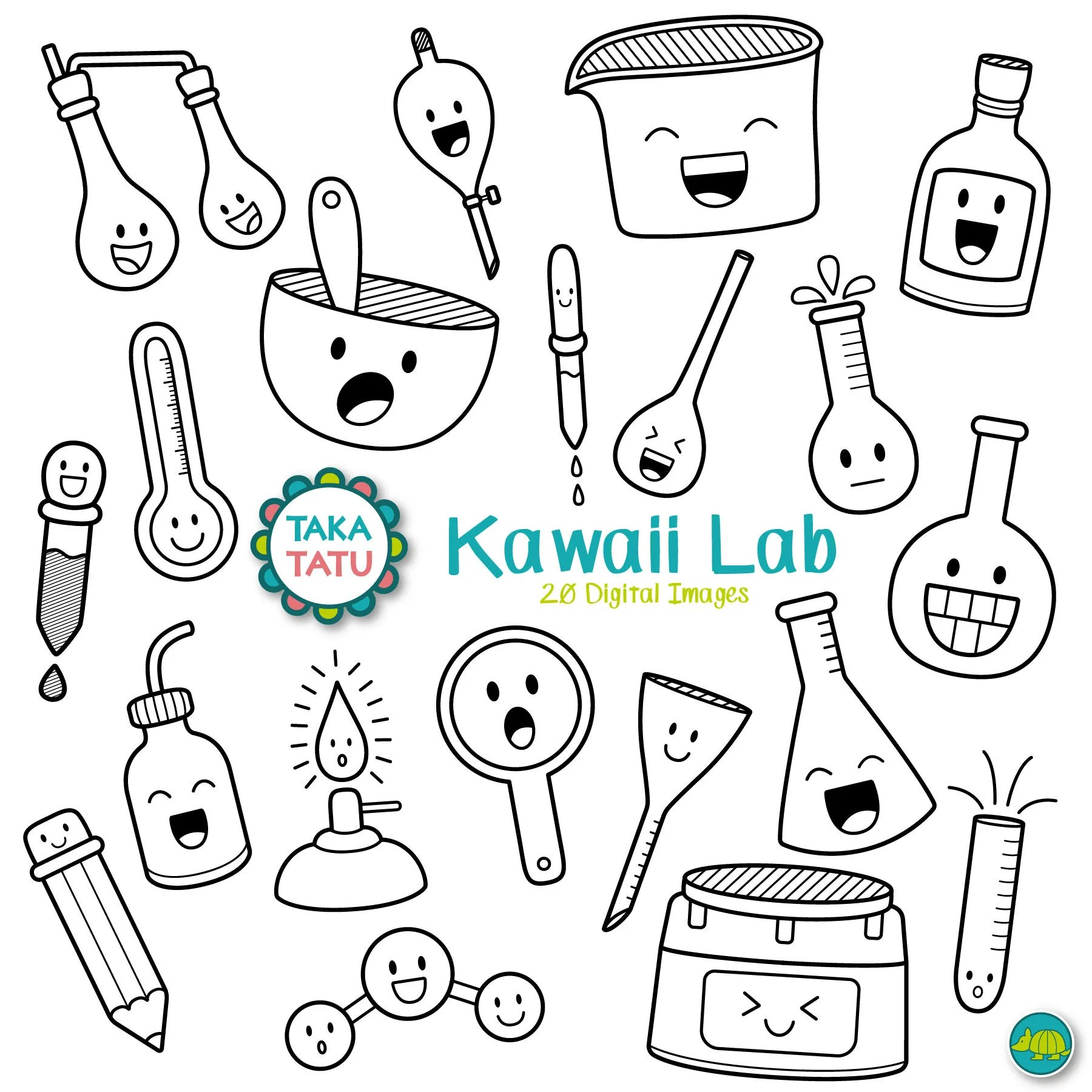Kawaii Lab Digital Stamp Science Lab Clipart Science
