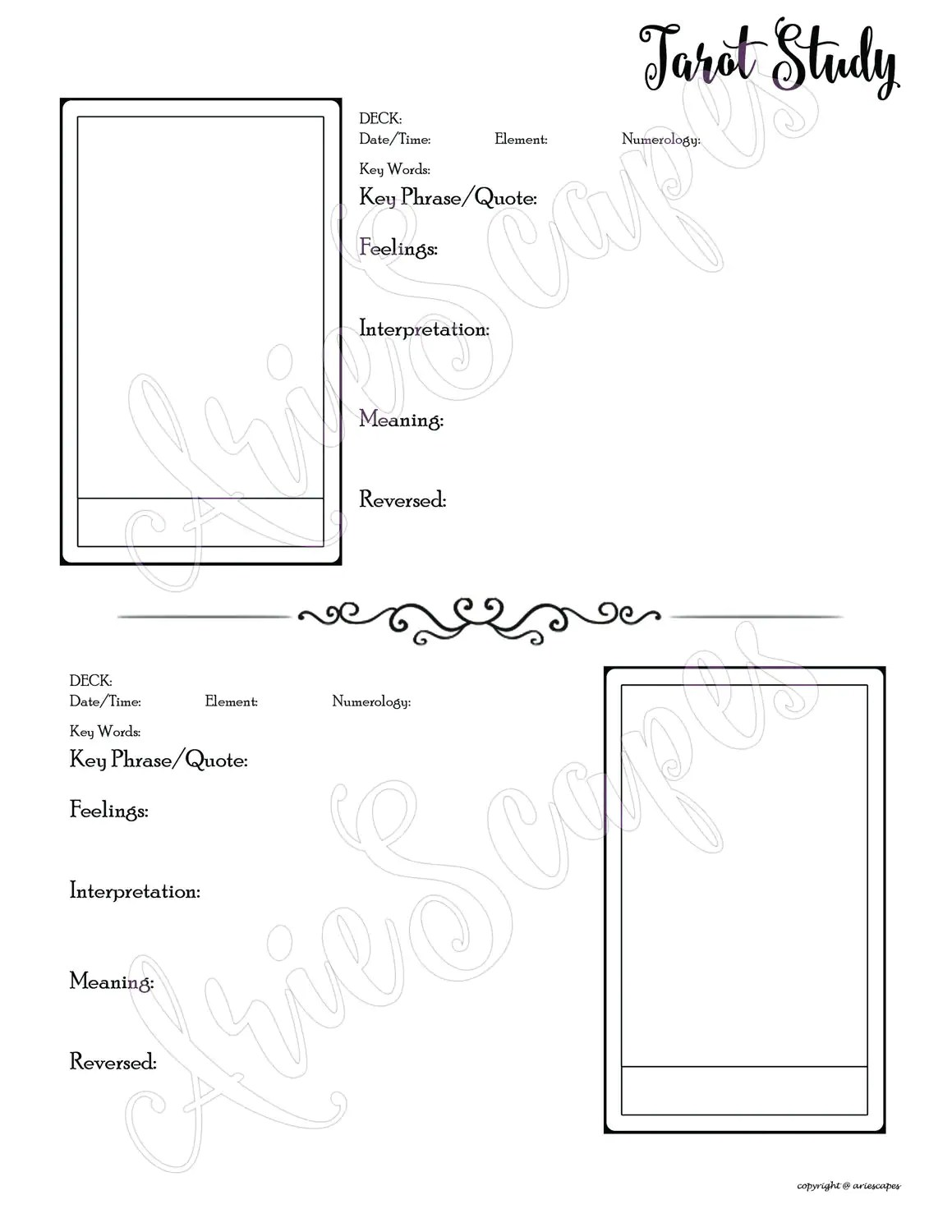 Tarot Study Template Only Single Page
