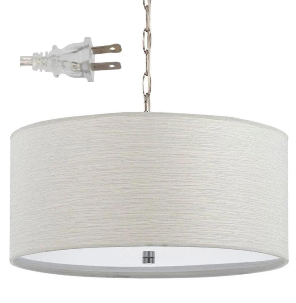 white drum plug in pendant light swag lamp chandelier simple elegant casual textured linen mid century modern hanging vintage 18 w