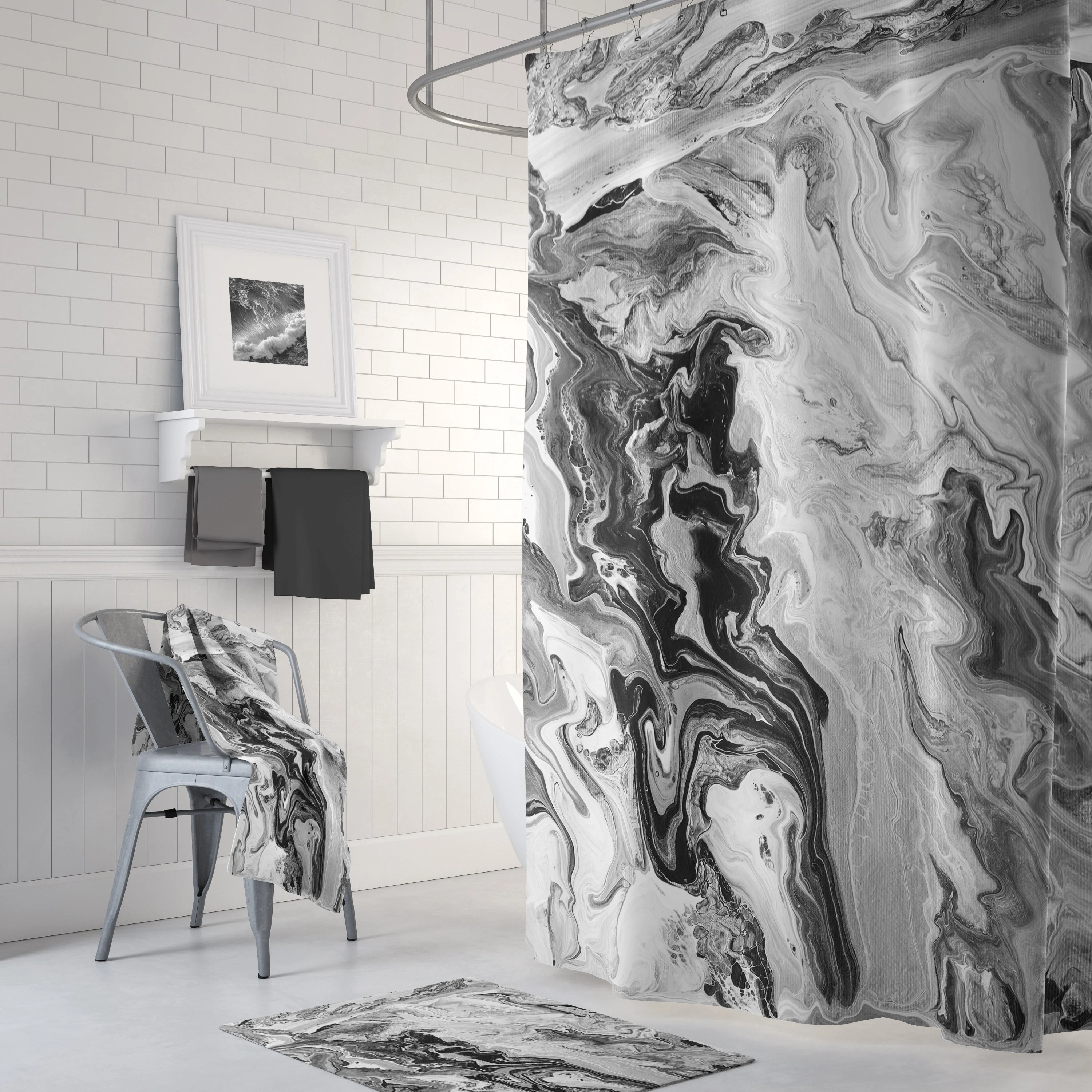 black and white marble shower curtain set swirling marble modern look bathroom