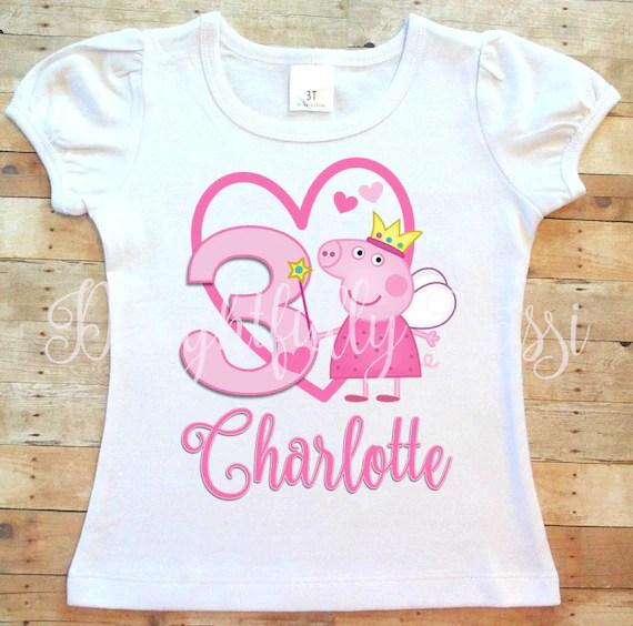 Peppa Pig Birthday Shirt Peppa Pig Shirt Personalized Etsy