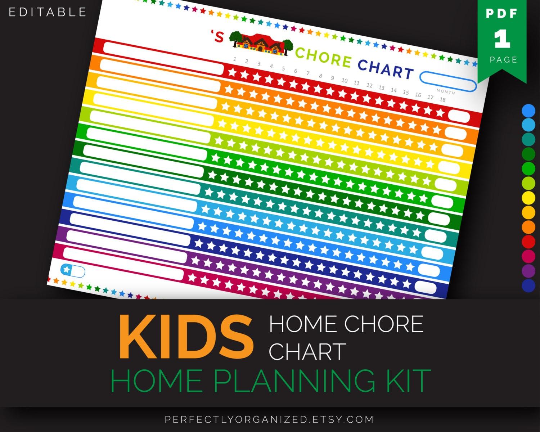 Kids Home Chore Chart Stars Chore Chart Responsibility