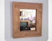 wooden wall mirror, eco friendly, thick wood frame, pale wood stain - custom size - handmade modern rustic style from Somerset UK