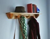 Long wood shelf with hooks, hallway & porch, 90 cm, 4 upcycled hanger coat hooks, real eco wood, modern rustic farmhouse, handmade Somerset