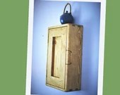 kitchen wall cabinet in natural wood, tall & narrow with 3 shelves, single wooden door, custom handmade modern rustic style from Somerset UK