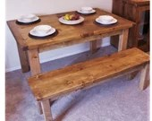wooden kitchen & dining table in natural eco wood, extendable chunky slab top- modern rustic farmhouse style quality handmade in Somerset UK
