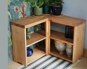 Corner bookshelf, wooden bookcase shelves 75W x 60H x 29D cm rustic, industrial, farmhouse, handmade Somerset UK *Not free delivery