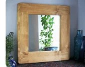 wooden wall mirror with chunky sustainable natural light wood frame, 65 H x 63 W cm, handmade modern rustic farmhouse style from Somerset UK