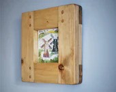 Square wooden picture & photo frame, pale wood, eco friendly, 5 X 5 inch, custom sizes, handmade rustic industrial style from Somerset UK