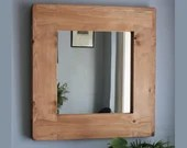 wooden wall mirror with chunky natural wood frame, 65 H x 63 Wide cm, custom handmade in rustic industrial farmhouse style from Somerset UK