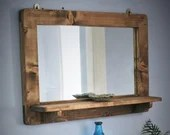 large mirror with shelf, dark wood mirror frame & shelf, real wood wall mirror, natural wood, custom handmade modern rustic from Somerset UK