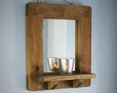 wooden wall mirror with shelf, sustainable natural wood, thick & chunky dark wood candle shelf, modern rustic custom handmade in Somerset UK