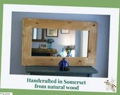 large wooden wall mirror, light wood thick frame, natural wood 100 wide x 60 cm high , rustic simplicity custom handmade in Somerset UK