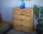 chest of drawers, real wood, large bedside & dressing table, modern rustic, eco light natural wood, 90 x 80 cm, custom handmade Somerset UK
