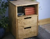 wooden bedside table, small chest of drawers, nightstand cabinet with shelf, 60 high x40Wx40D cm, modern rustic custom handmade Somerset UK