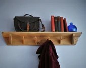 Wooden coat rack shelf with 4 to 6 peg coat key hooks, minimalist industrial hallway book shelf, rustic natural wood handmade in Somerset UK