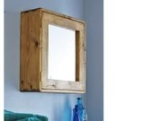 wooden bathroom wall cabinet, 56Hx54Wx18D cm, eco real wood, large door mirror &  3 shelves, custom handmade modern rustic from Somerset UK