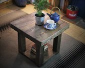 square coffee table, 50 x 45 H cm, rustic industrial, wooden slab top, shelf & chunky legs, dark wood stain, custom handmade, Somerset UK