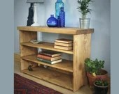 Bookshelves in natural wood, rustic industrial long low bookcase, hall table 90Wx60H x 29 deep cm handmade in Somerset UK *Not free delivery