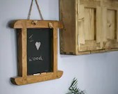 chunky wood chalkboard, traditionally handmade in Somerset farmhouse style from eco friendly timbers, country kitchen memo board, organiser