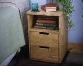 wooden bedside table and ...