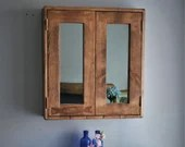 Large bathroom mirror cabinet, dark wood cabinet, rustic medicine, 60Wx65Hx14D cm, 2 doors, 3 shelves, sustainable, custom handmade Somerset