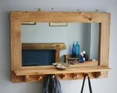 large mirror with shelf, 5 coat hooks, natural wood, hallway mirror, bathroom salon mirror, rustic simplicity custom handmade in Somerset UK