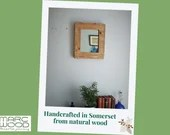 Small wooden wall mirror, sustainable natural light wood, contemporary hallway or bathroom, custom handmade modern rustic from Somerset UK