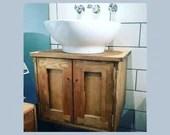 Under sink cabinet for bathroom, rustic wall mounted vanity sink stand 37.5Hx50Wx38D cm, 2 doors, natural wood - custom handmade Somerset UK