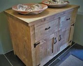 wooden sideboard, large wooden cabinet, natural light wood, black iron handles, rustic farmhouse & country cottage style from Somerset UK
