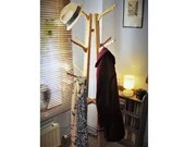 wooden hat coat stand 1.6 m tall, 12 upcycled coat hooks in pale eco wood - modern rustic hall furniture & storage handmade in Somerset UK