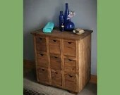 Apothecary cabinet for bathroom, vanity dresser in sustainable natural wood, dark wood, chunky tabletop,  sustainable custom handmade in UK