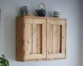 kitchen wall cabinet & cupboard in natural wood, with 2 doors, 3 storage shelves, modern rustic farmhouse, custom handmade in Somerset UK