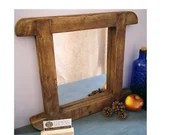 wood wall mirror, rustic real wood, dark wood curved mirror frame, rustic eco natural wood, small & decorative, custom handmade Somerset UK