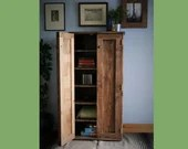Tall wooden cabinet cupboard in dark wood, 6 shelves, games & media storage 130 H X 65 W x  35.5 D cm, sustainable natural wood, Somerset UK
