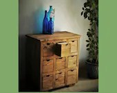 Apothecary cabinet sideboard, console media CD storage drawers in rustic dark wood tone sustainable natural wood, custom made in Somerset UK