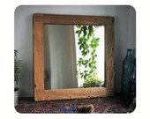 wooden wall mirror, dark wood frame, natural sustainable wood, 60 cm square, hallway & bathroom, rustic simplicity handmade in Somerset UK