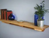 wood wall shelf with chunky book end, sustainable natural wood 114 long x 21 deep cm, modern rustic farmhouse, custom handmade in Somerset