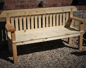 garden bench seat with wide arms, natural real wood, rustic country cottage eco outdoor & garden furniture custom handmade in Somerset UK
