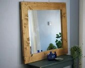 large wooden wall mirror, thick & chunky eco wood frame 100 x 90 cm, handmade modern rustic, country farmhouse style from Somerset UK