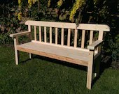 Not free delivery* garden bench seat, natural wood, traditional rustic country cottage outdoor garden furniture, custom handmade in Somerset