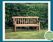 Garden bench seat, with wide arms, natural wood, rustic country cottage outdoor furniture custom handmade in Somerset UK *NOT free delivery*
