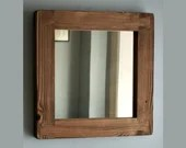 square wall mirror with thick frame in natural rustic wood, small hallway, bathroom, bedroom, industrial, farmhouse style from Somerset UK