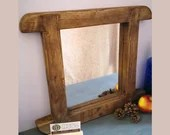 Curved rustic wooden wall mirror, chunky thick natural wood frame, cottage farmhouse hallway, bathroom, bedroom, handmade in Somerset UK