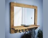 large mirror with shelf & 5 iron hooks, wide rustic wooden frame, 76W x 61H cm, hallway, bathroom, dressing, custom handmade in Somerset UK