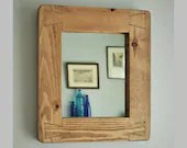 small wooden wall mirror, rustic hallway, bathroom or bedroom, natural chunky wood frame, farmhouse mirror, custom handmade in Somerset UK